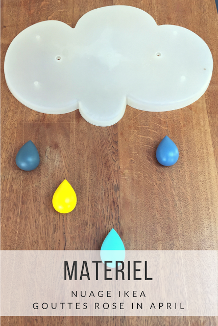DIY patere nuage et gouttes rose in april ikea