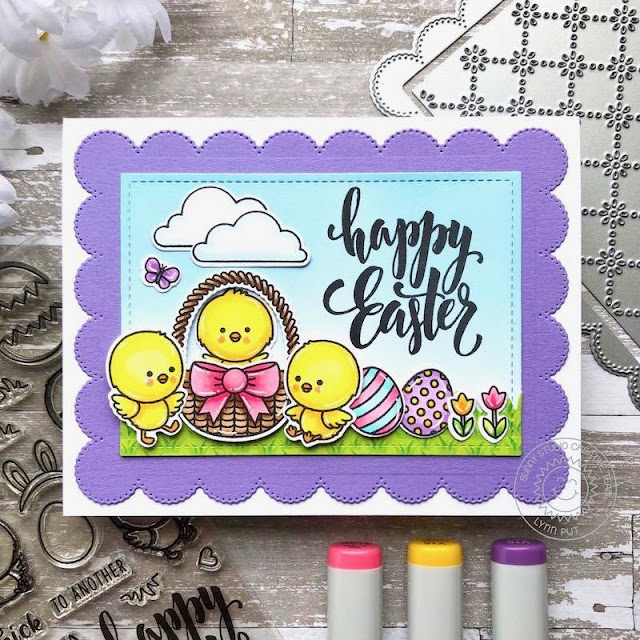 Sunny Studio Stamps: Frilly Frame Eyelet Lace Dies Chickie Baby Sunny Sentiment Dies Easter Card by Lynn Put
