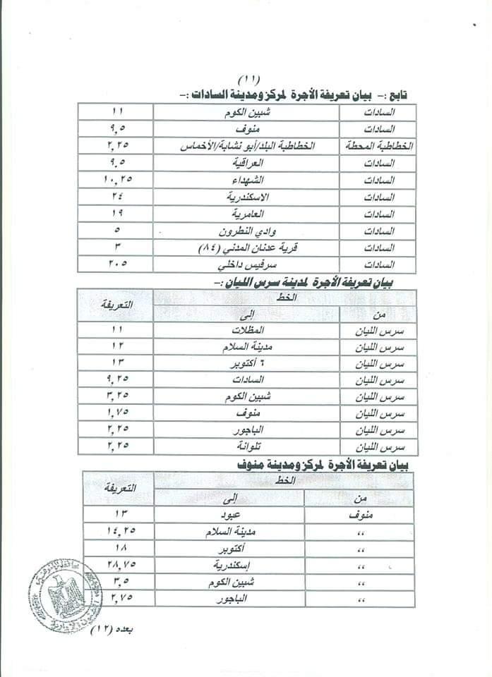 ننشر التعريفه الجديده للمواصلات داخل وبين المدن المصرية بعد زياده اسعار الوقود بجميع المحافظات FB_IMG_1562330892169