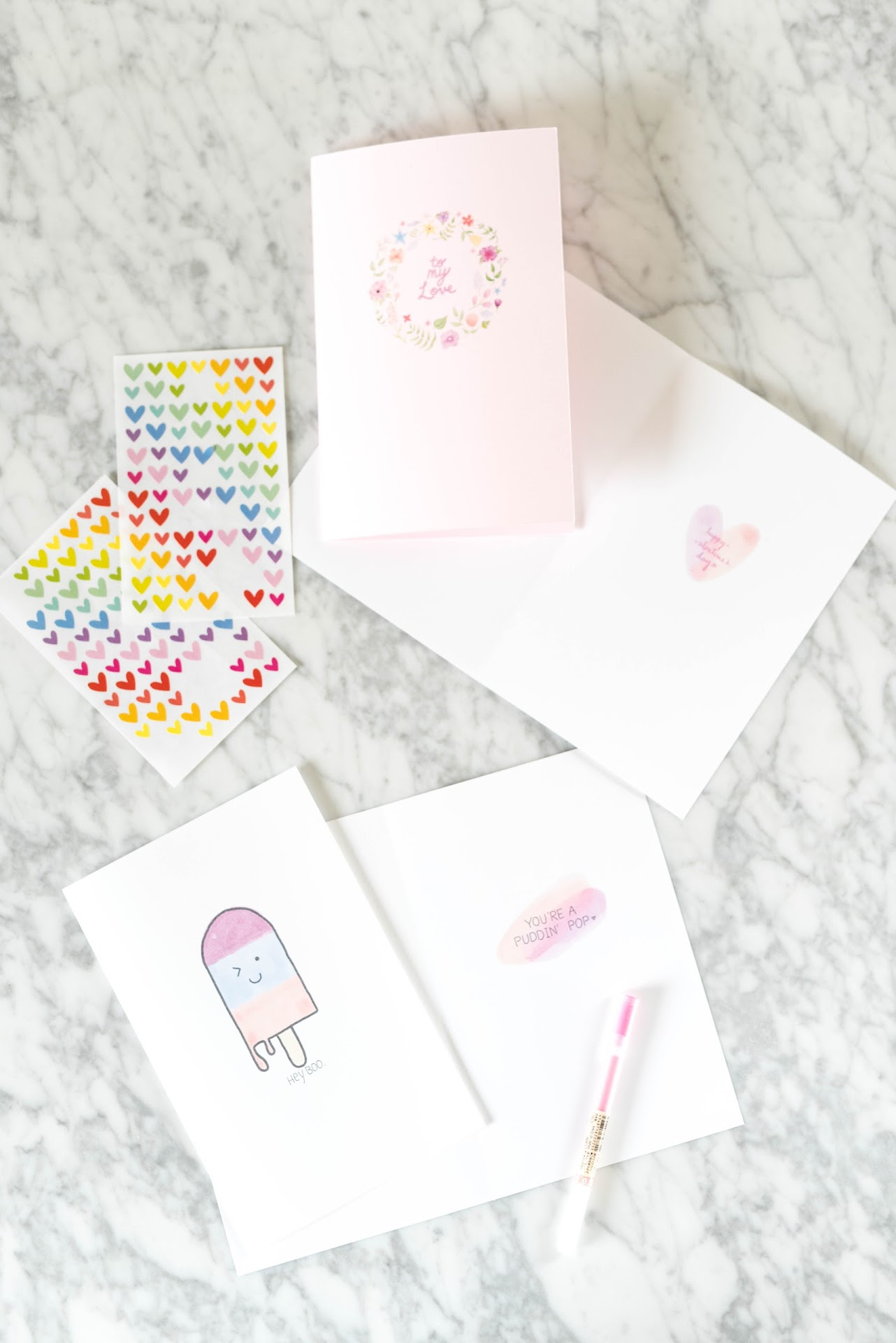 diy valentine's day cards, cute cards, pretty, diy, craft, homemade, kawaii, diy blogger, pudding pop, pink, vday, gifts for husband, boyfriend, wife, girlfriend, hey boo, watercolor digital drawing
