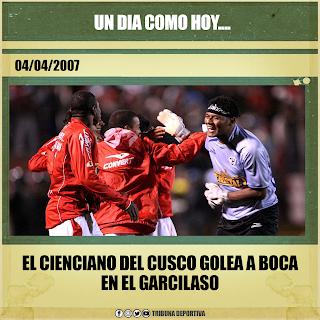 EN 2007 CIENCIANO GOLEA A BOCA EN EL CUSCO POR LA LIBERTADORES