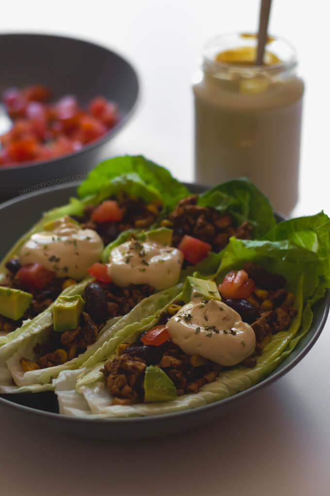 Vegan Lettuce Tacos with Sour Cream   danceofstoves.com