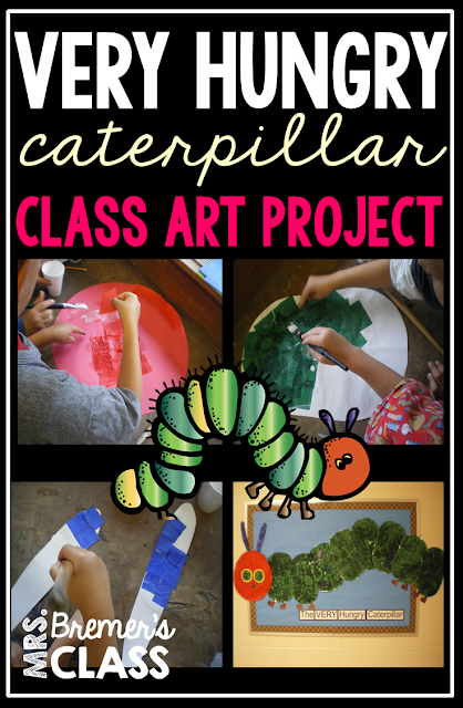 Very Hungry Caterpillar collaborative class art project perfect for Kindergarten!