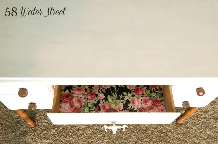 DIY, furniture makeover, painted furniture. floral, drawer liners, drawer paper