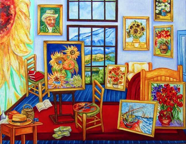 van Gogh\'s New Studio Bedroom, oil painting inspired by Vincent ...