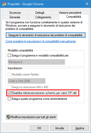 Disabilita valori DPI alti in Windows 10