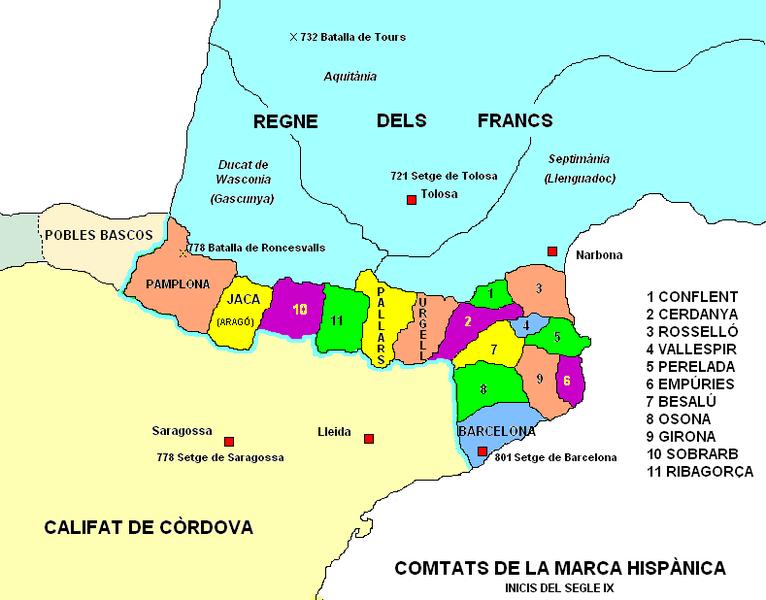 Comtats de la marca hispànica, inicis del segle IX