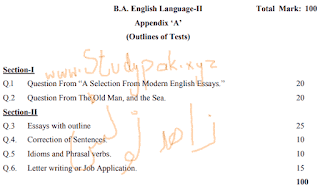 BA part 2 English paper pattern 2021 pdf download