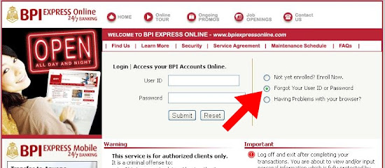 BPIExpressOnline log-in page