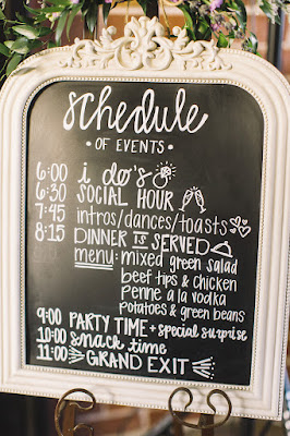 schedule of events wedding sign