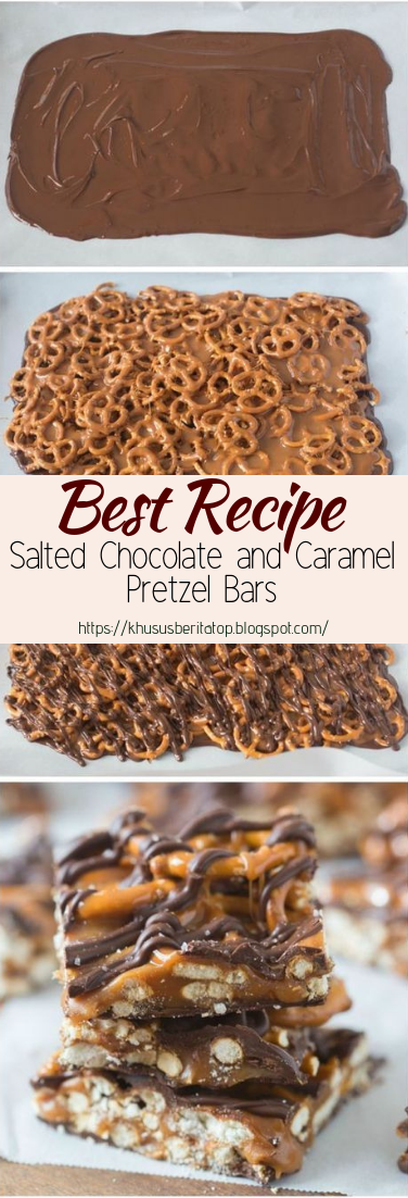 Salted Chocolate and Caramel Pretzel Bars #desserts #cakerecipe #chocolate
