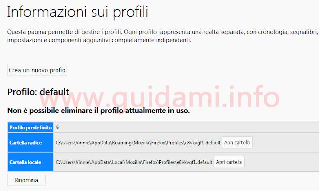 Firefox pagina gestione profili utente e pulsante per creare un nuovo profilo
