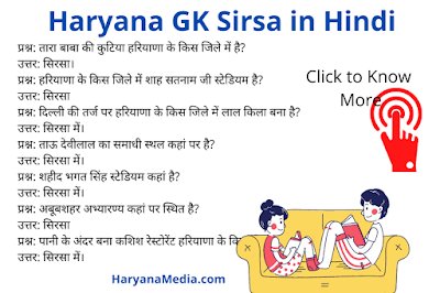 Haryana GK Question Answer in Hindi For Sirsa District