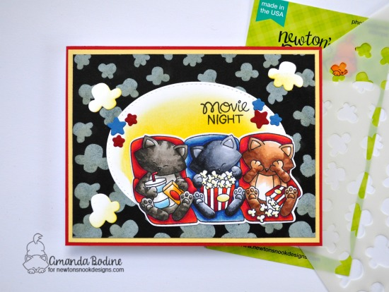 Cats and Movie card by Amanda Bodine | Newton's Movie Night Stamp Set and Popcorn Stencil by Newton's Nook Designs #newtonsnook #handmade