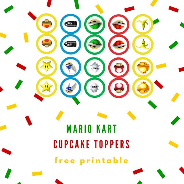 Mario Kart cupcake toppers