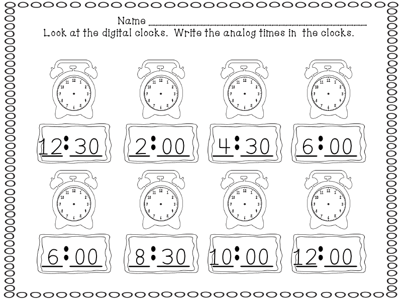First Grade Time Worksheets: Elapsed Time: One Hour Later