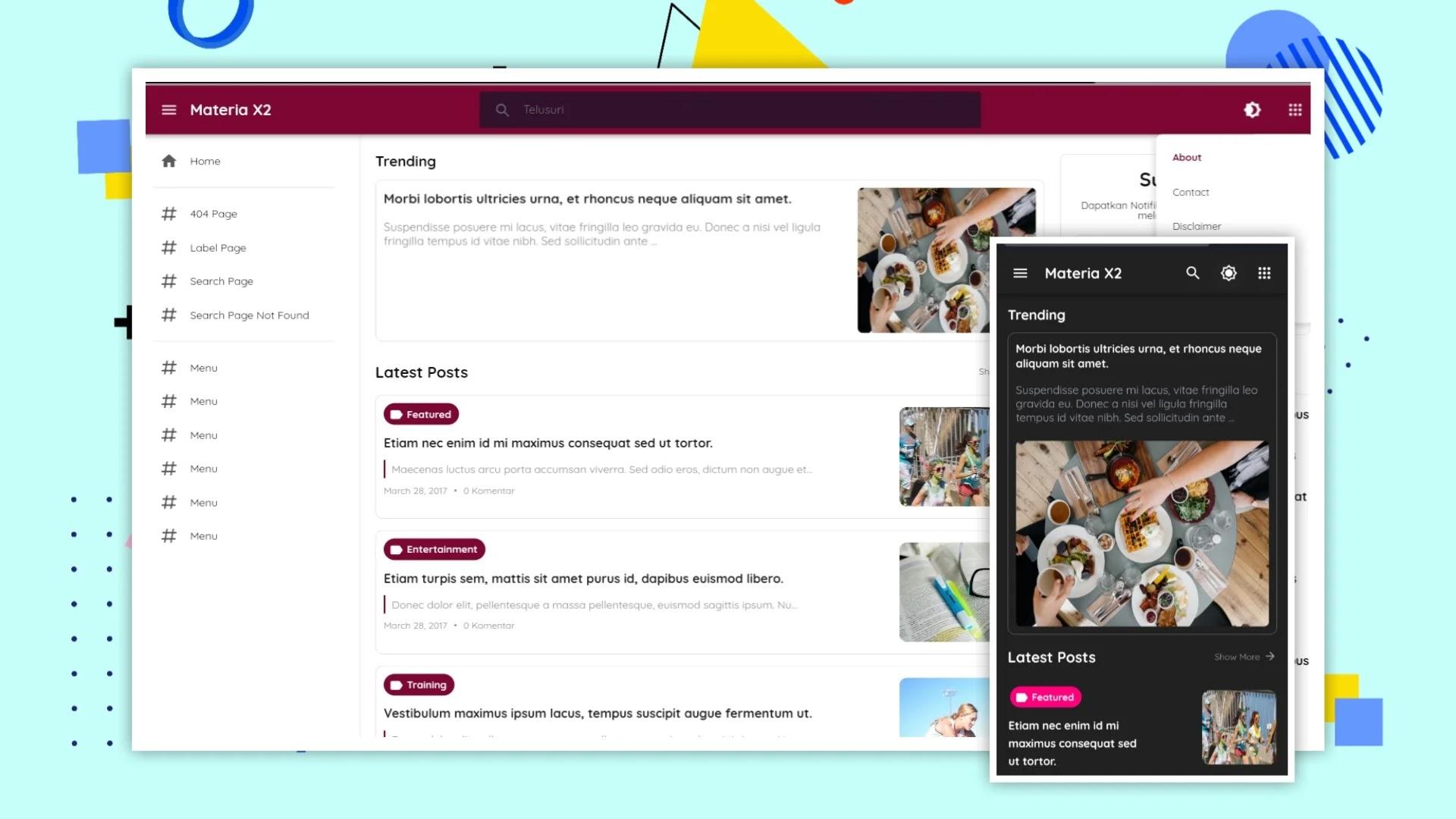 Materia X2 Blogger Template