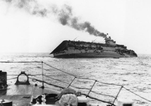 Royal Navy aircraft carrier HMS Courageous after being torpedoed on 17 September 1939 worldwartwo.filminspector.com