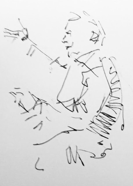 Pen and ink drawing of man gesturing with arm raised.