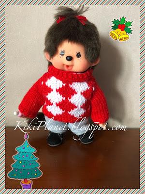 kiki monchhichi pull sweater tricot knitting handmade fait main poupée