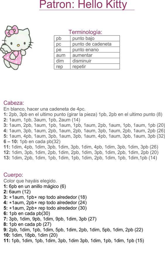 Hello Kitty tejida a crochet (amigurumi) Parte 1: cabeza ... | 862x564