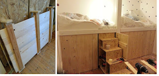 DIY Handmade Upcycling Hochbett Renovieren Renovierung Kinderzimmer Holz Holzbau builtwithBosch Bosch Wood Woodworking Woodwork Ikea Trofast Eigenbau Kojenbett Fachwerk cot loft bed nursery timbering