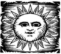 a black-and-white sun with a face