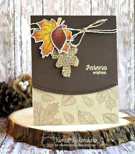 Fall leaves with Burlap Card by Kimberly Rendino | InkyPaws Challenge | Beautiful Leaves stamp set by Newton's Nook Designs #newtonsnook
