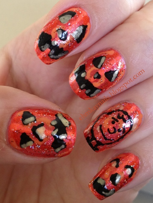 ehmkay nails: Jack-O-Lantern Nails Take Two: Charlie Brown Style
