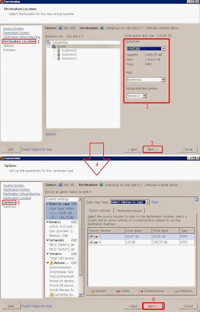 VMware vCenter Converter Standalone: Options.