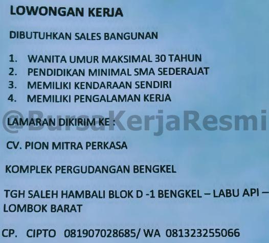 Lowongan Kerja CV Pion Mitra Perkasa Mataram Lombok NTB