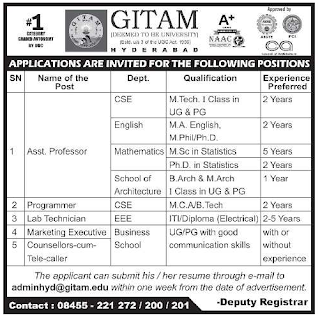 Assistant professors Jobs in GITAM University 2019 Recruitment, Hyderabad