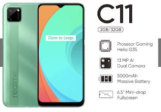Realme C11 warna Green Mint RAM 2 GB