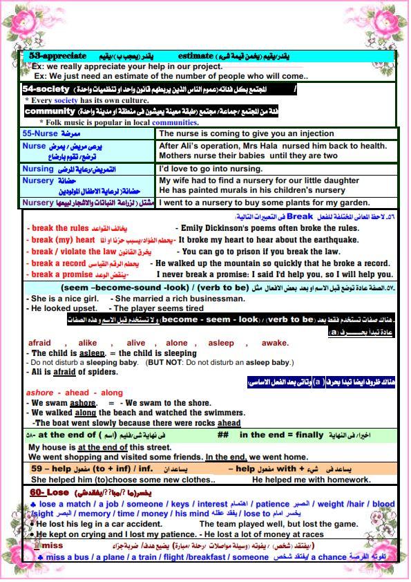 كل الملاحظات اللغوية في اللغة الانجليزية للصف الثالث الثانوى مستر. عصام وهبة 6