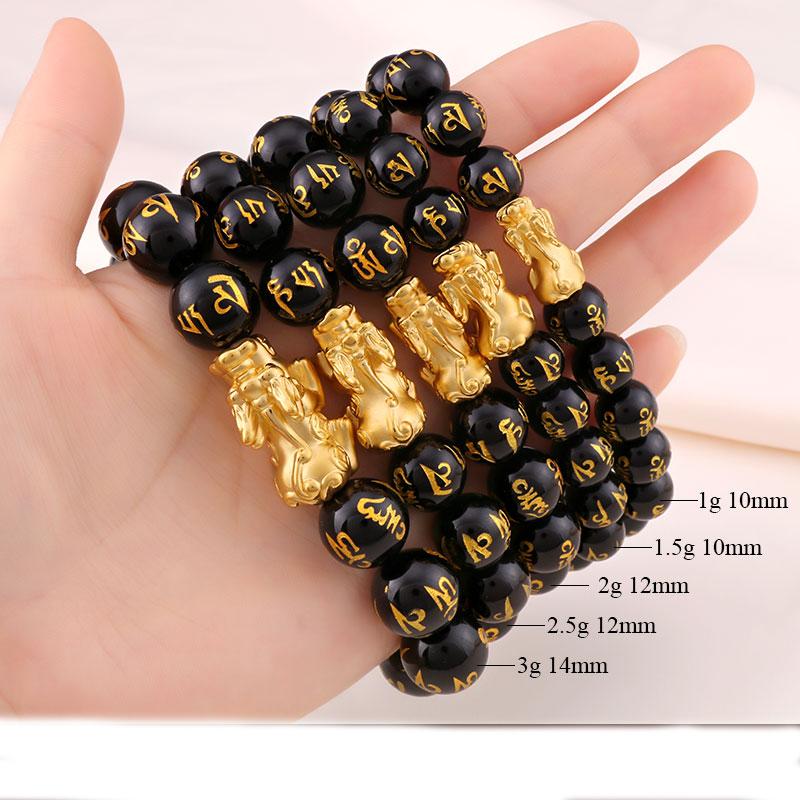Vòng tay kỳ hưu mạ vàng 12mm - Vòng tay tì hưu phong thủy mạ vàng cực đẹp GIÁ SỈ