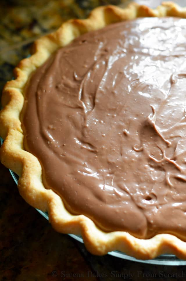 Chocolate Pudding Cheesecake in a flaky pie crust is a favorite dessert recipe from Serena Bakes Simply From Scratch.