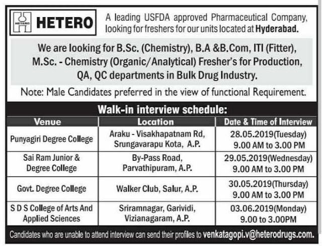 Hetero Healthcare Ltd - Walk-in for Fresher's for Production, QA, QC Departments
