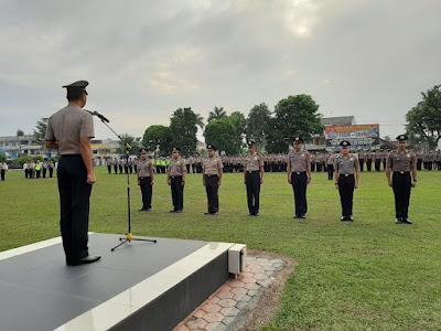 Kapolresta Jambi Pimpin Upacara Korps Raport Kenaikan Pangkat Ratusan Personil Polresta Jambi