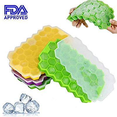 50% off Ice Cube Trays, FOXTSPORT 3 Pack Silicone Ice Cube Molds with Removable Lid, 117 Ice Trays Food Grade Silica Gel Flexible,BPA Free Stackable Durable Ice Cube Molds for Chilled Drinks, Whiskey