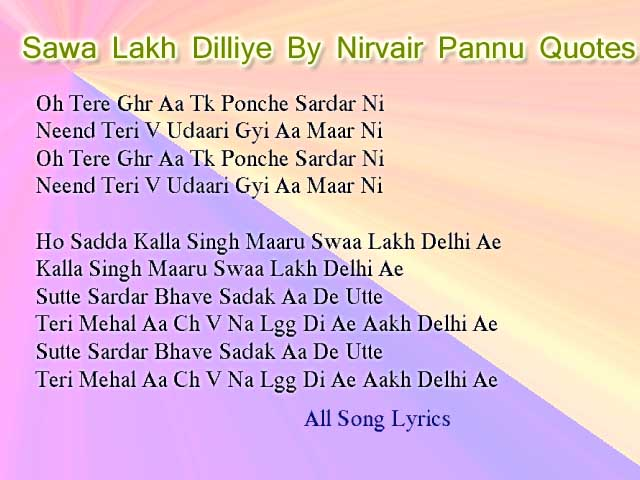 Sawa Lakh Dilliye Song By Nirvair Pannu Lyrics