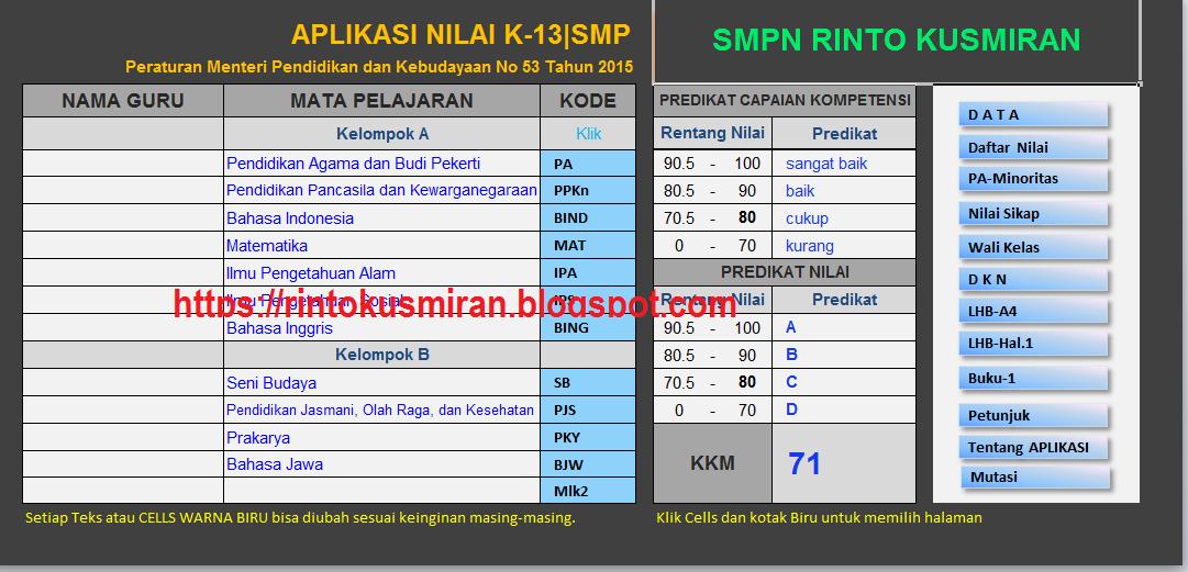 Rinto Kusmiran Aplikasi Raport K13 Smp