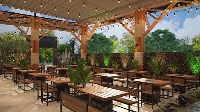 Thiết kế nhà hàng BBQ sân vườn đẹp lung linh