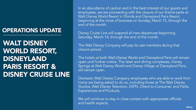Closure of Disneyland, Walt Disney World, and Disneyland Paris Resorts