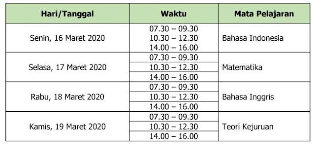 Jadwal UN SMK/MAK 2019 2020