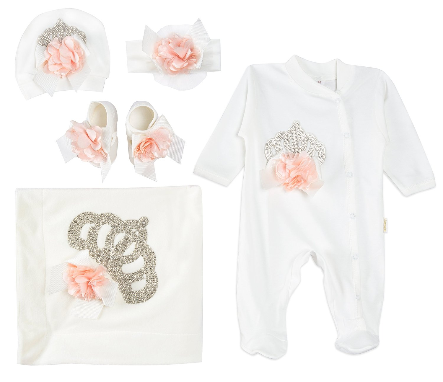 0a6998e7af45 The Lilax Baby Girl Jeweled Layette 5 Piece Gift Set comes all nice and  neatly packed in a Lilax box. The box is great for gift giving, as it lays  all the ...