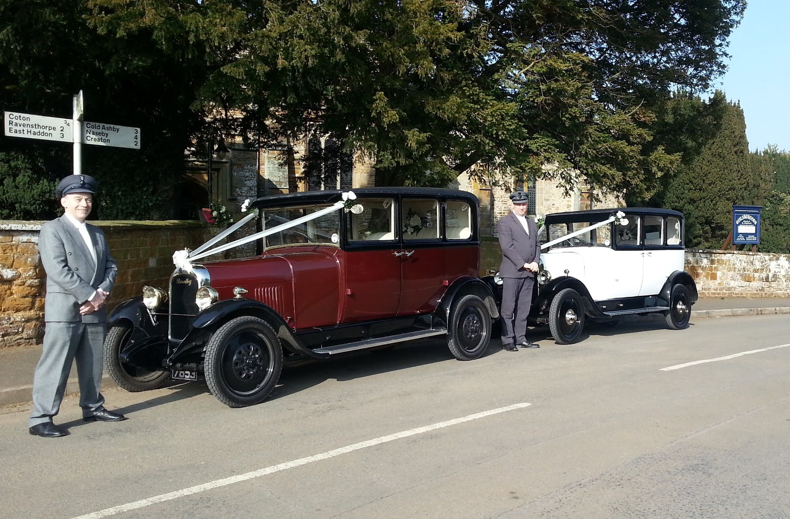 And I Could Not Resist Taking This Photograph Of 2 Our Cars Dorothy Harriet Plus Chauffeurs Rob Ian Outside The Church