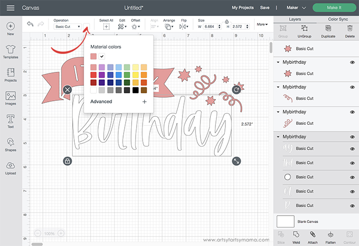 Birthday Cricut Design Space Color