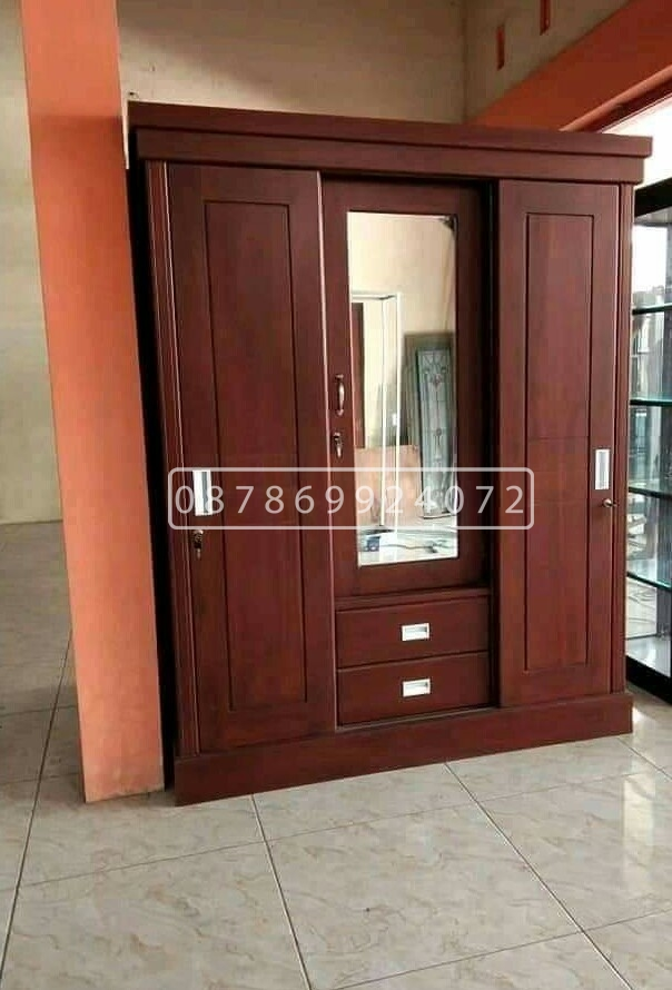 lemari pakaian kayu jati 3 pintu kaca