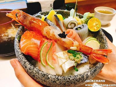 天使紅蝦生魚片蓋飯