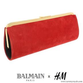 Crown Princess Victoria carried Balmain x H&M Red Suede Clutch